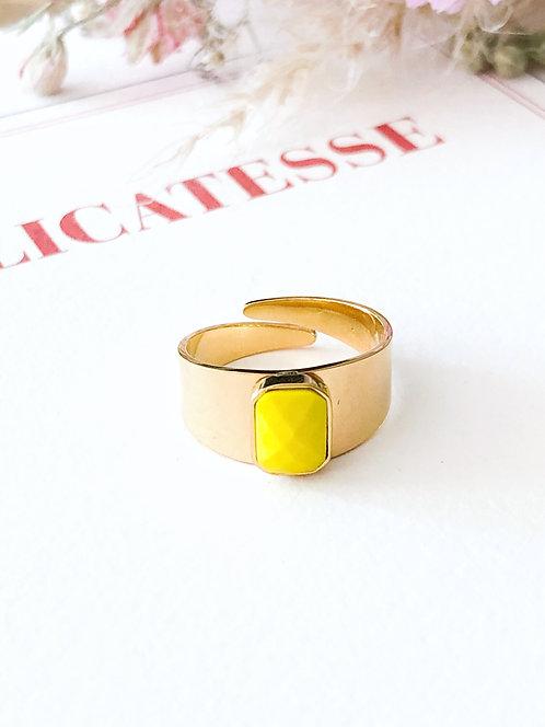Bague dorée à pierre jaune - FANNY