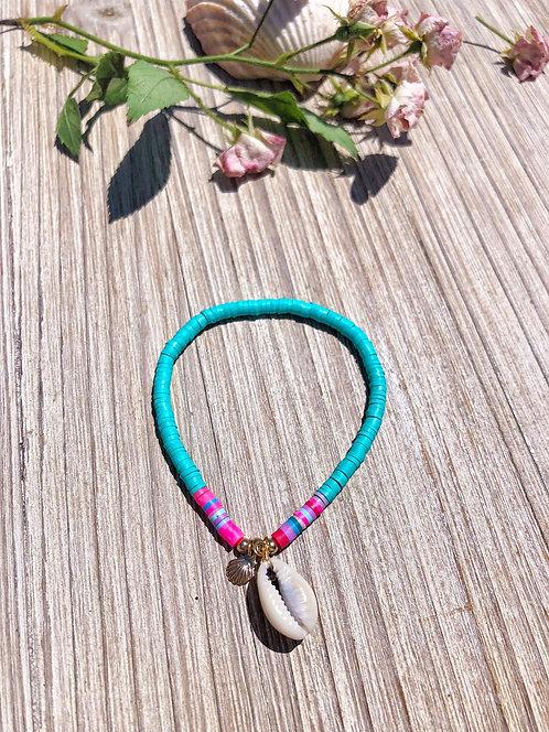 Bracelet surfeur à coquillages turquoise - TIMEO