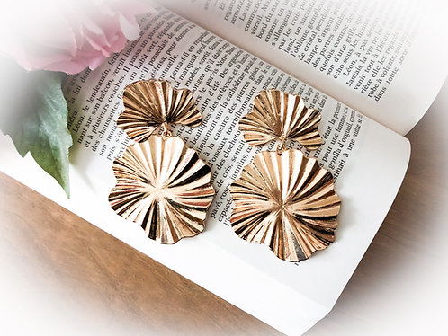 Boucles d'oreilles pendantes dorées - MEL