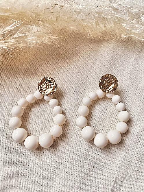 Boucles d'oreilles perles écrues