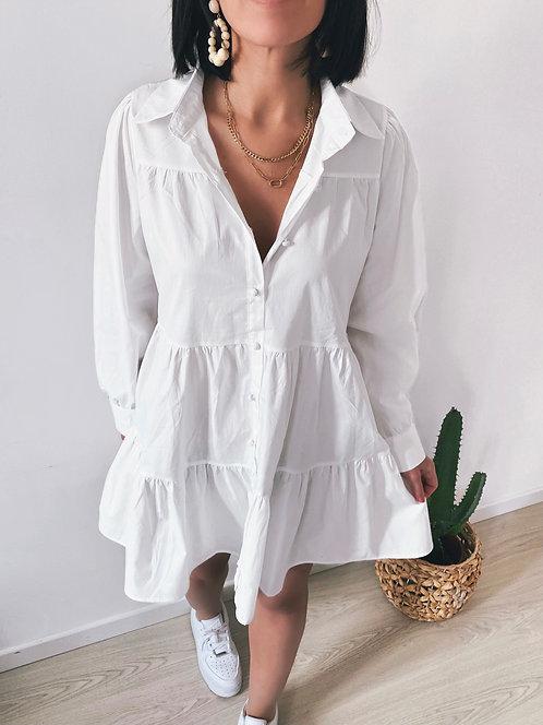 Robe blanche en coton - ALENA