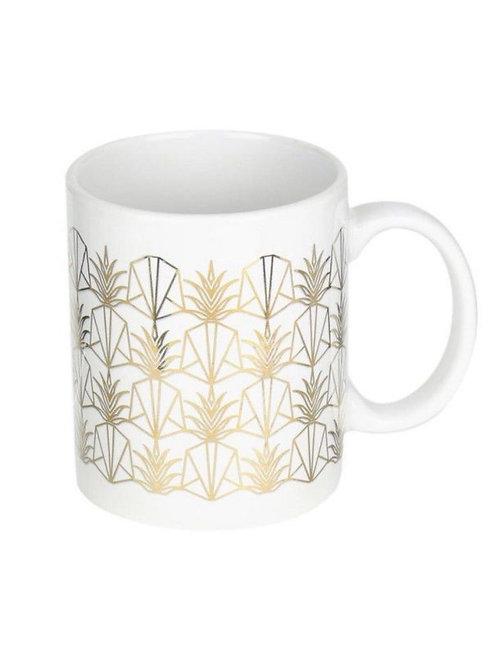 Mug blanc motif ananas dorés