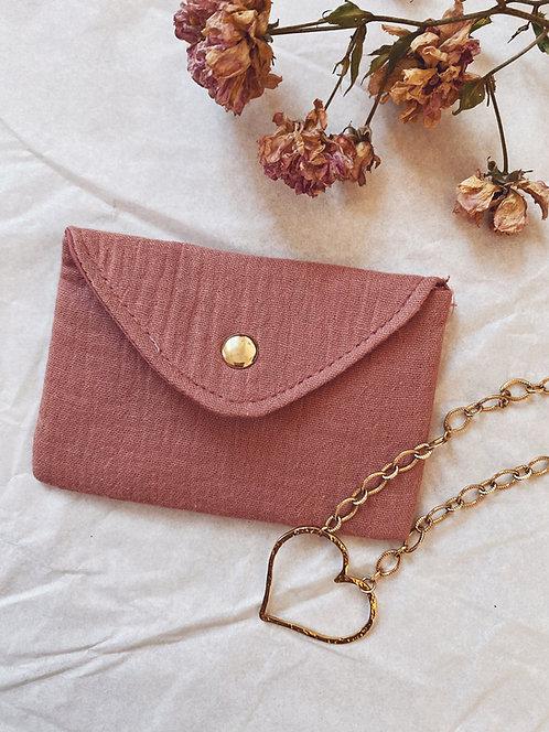 Mini pochette en gaze de coton vieux rose