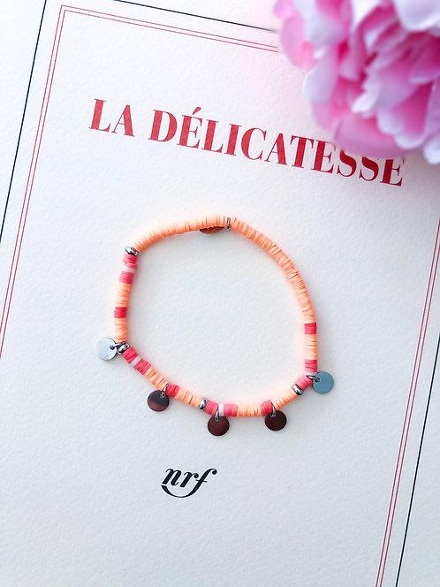 Bracelet coloré orange à pampilles argentées - AMILCAR