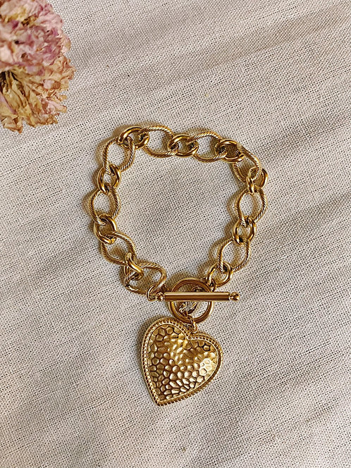 Bracelet maille et coeur doré décoré