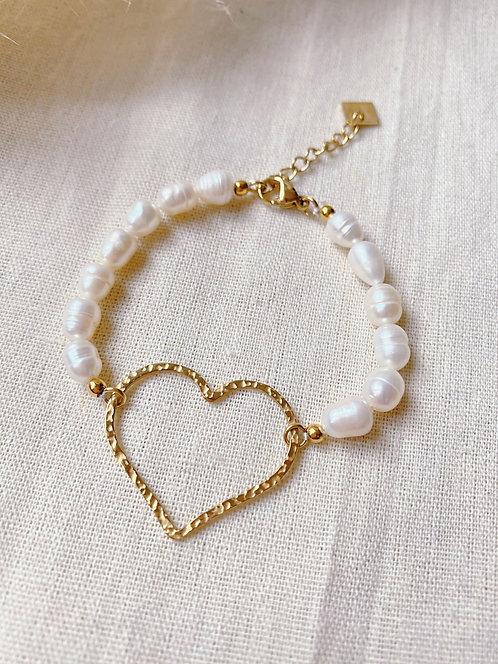 Bracelet perles et coeur doré