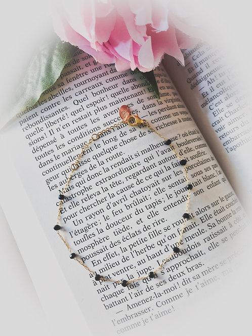Bracelet à perles noires - CAROLE
