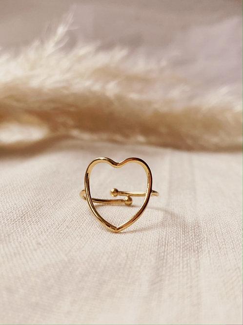 Bague coeur dorée