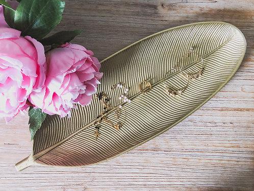 Coupelle dorée forme plume