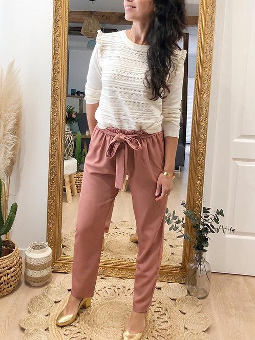 Pantalon rose taille mi-haute fluide - ALIX