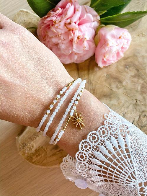 Bracelet perles 4 rangs et médaille coeur soleil - MAYANA