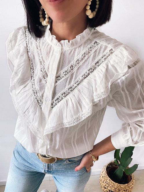 Chemise blanche à volants - DOMINIQUE