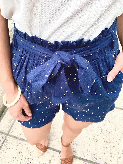 Short bleu en gaze de coton - ARMANDO