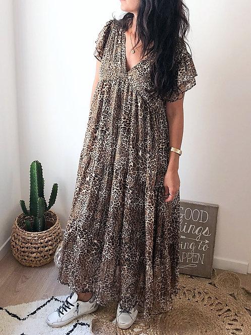 Robe longue imprimée léopard fabriquée en France - BEATRICE