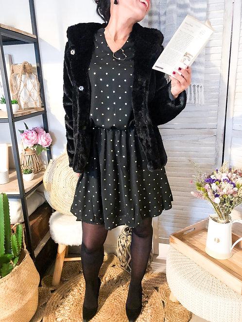 Manteau court en fausse fourrure noire à capuche - JADE