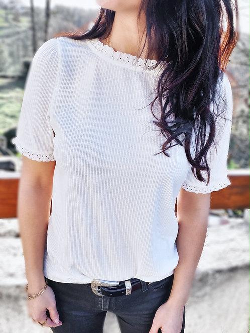 Top blanc à manches courtes - SUSANNA
