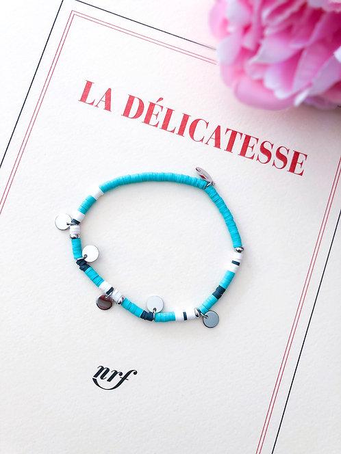 Bracelet coloré bleu à pampilles argentées - AMILCAR