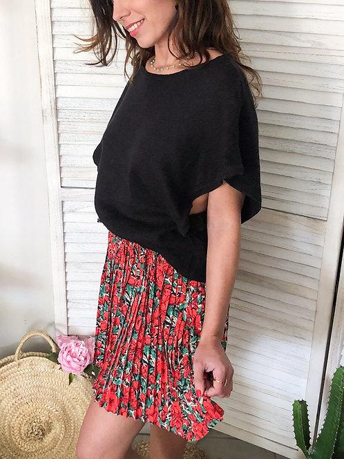 Jupe courte à fleurs rouges - CINDY