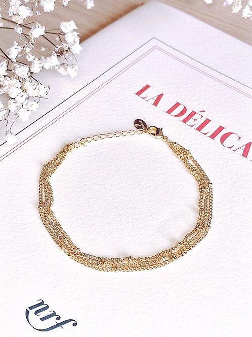 Bracelet trois rangs fin doré - ELISHA
