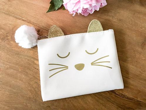 Pochette chat blanche et dorée