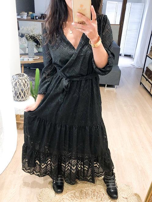 Robe longue noire et brillante - MELODY