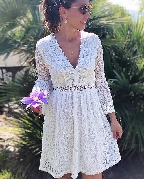 Robe courte en dentelle blanche - CORALINE
