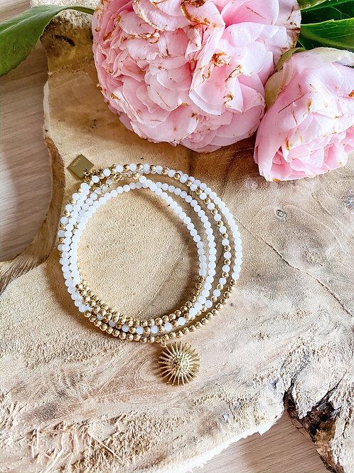 Bracelet perles 4 rangs et médaille soleil - MAYANA