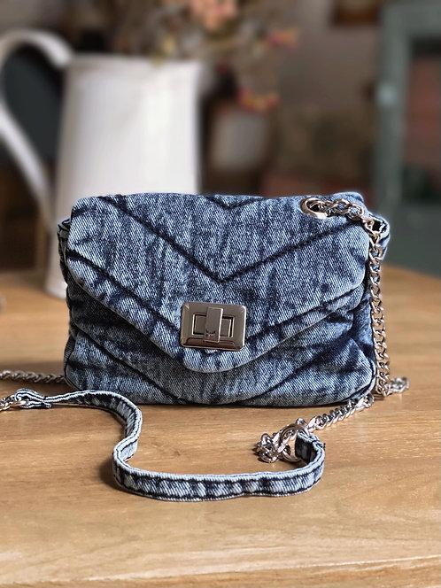 Mini sac en coton délavé bleu - IMAN