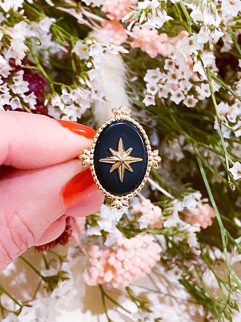 Bague étoile onyx et dorée - LYLIA