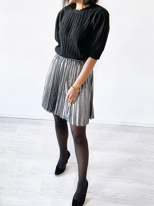 Jupe courte plissée argentée - SUE