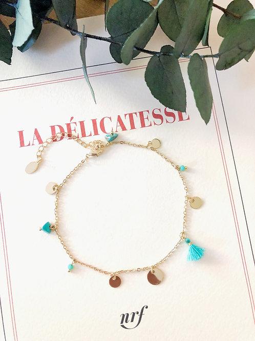 Bracelet de cheville à pompon bleu - JENNA