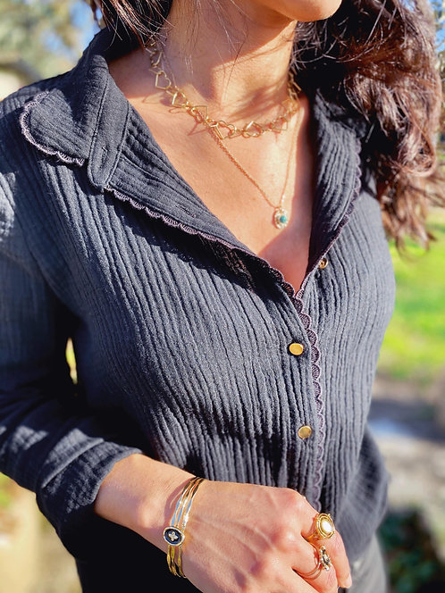 Chemise noire en gaze de coton - LOUVE