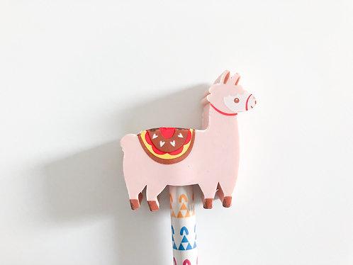 Crayon à papier gomme Lama - Rose