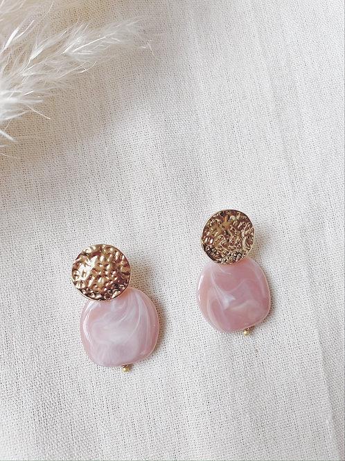Boucles d'oreilles rose et dorées