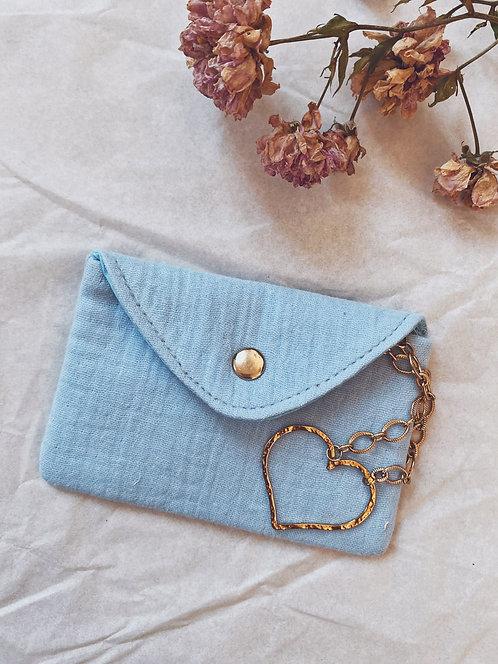 Mini pochette en gaze de coton bleue