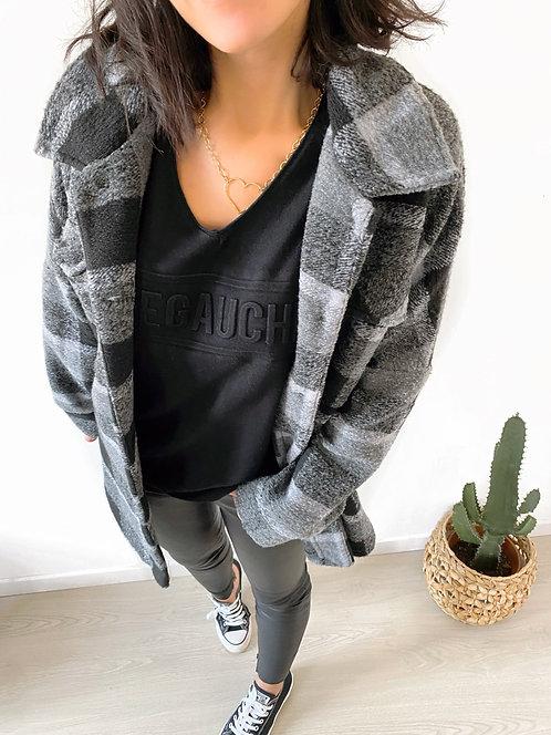 Surchemise à carreaux en laine noire - ANNABELLE