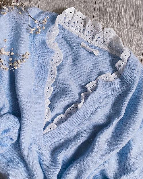 Pull en laine bleu et dentelle - JIM