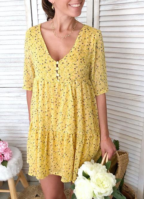 Robe courte jaune et dorée à petites fleurs - CLARISSE