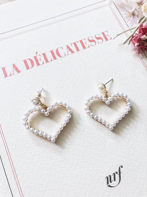 Boucles d'oreilles perles coeur - LOUANE