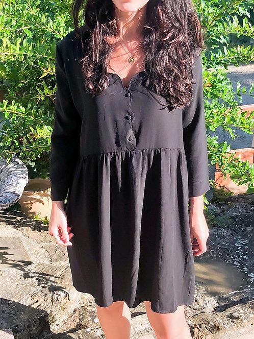 Robe courte à col festonné noire - LOU