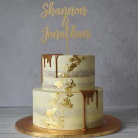 Wooden cake topper & Gold leaf