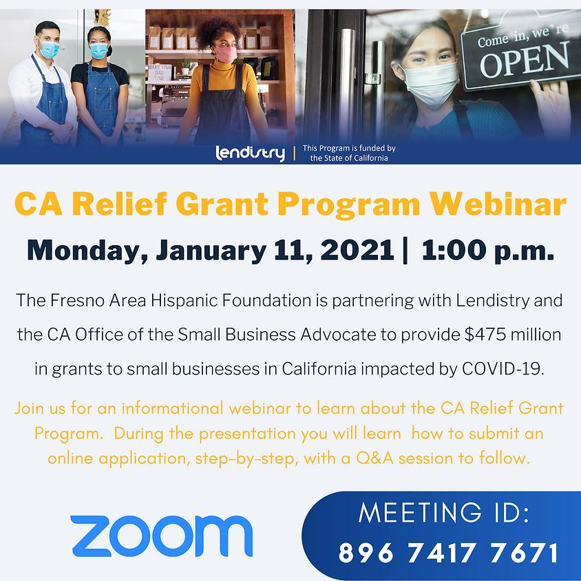 Webinar Updates on CA Relief Grant Program