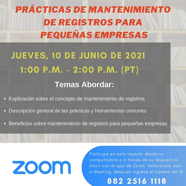 Prácticas de mantenimiento  de registros para  pequeñas empresas
