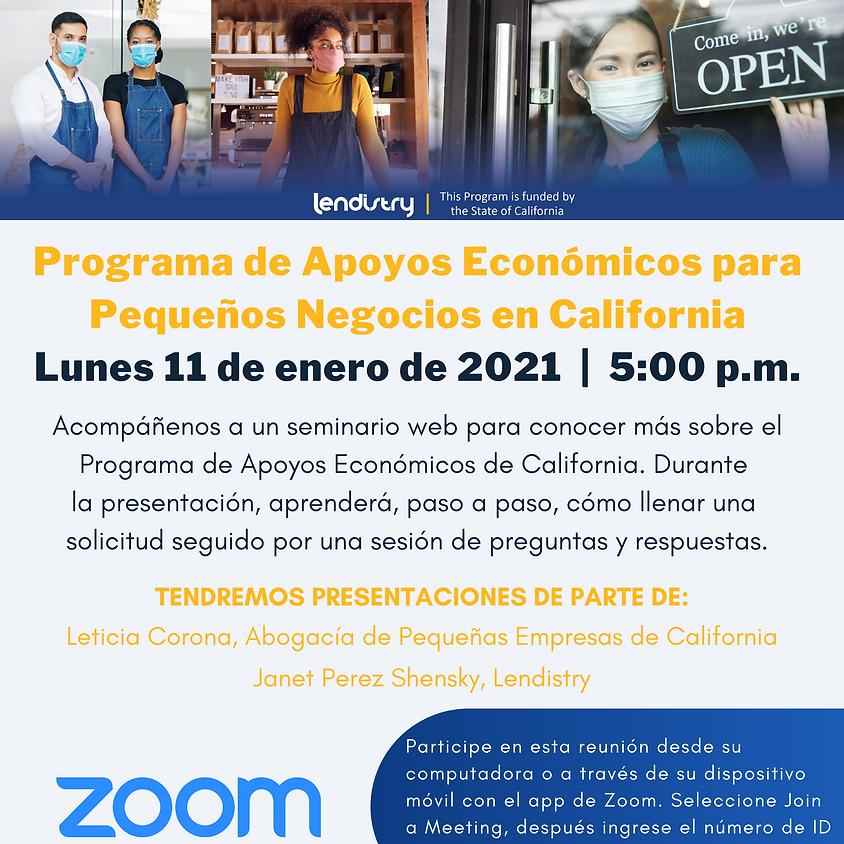 Actualizaciones sobre el programa de ayuda economica en CA