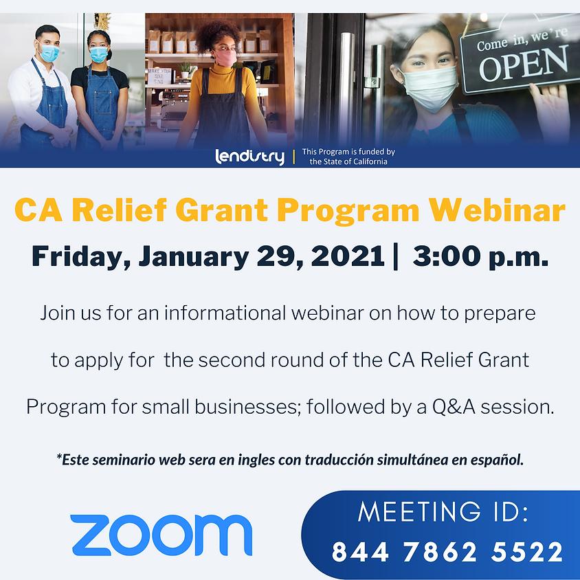 CA Relief Grant Program - Round 2