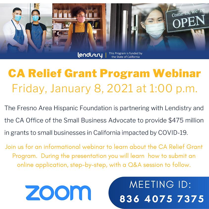 CA Relief Grant Program Webinar