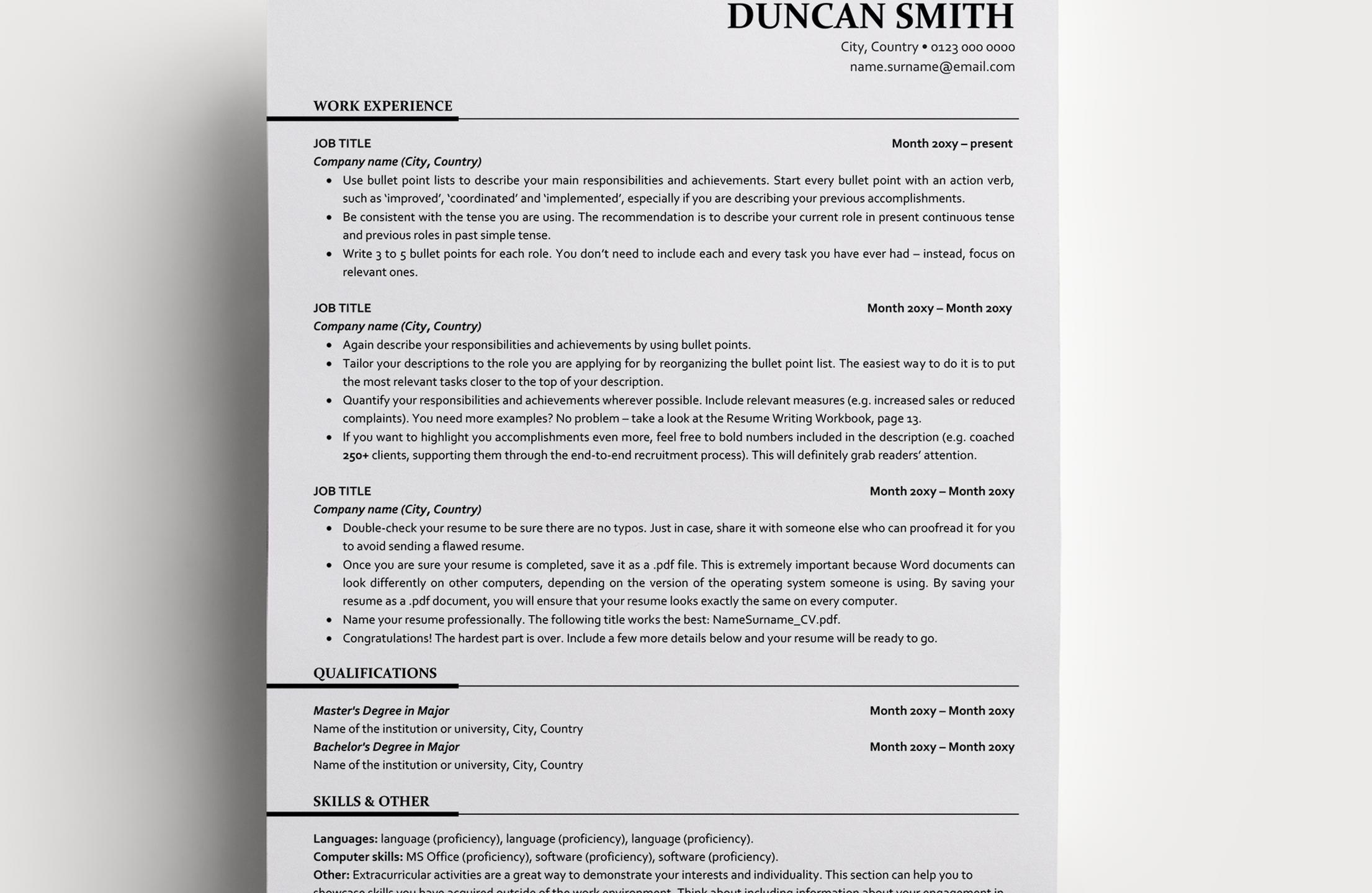 Resume Template Duncan