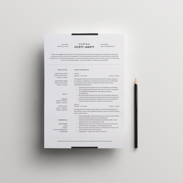 Classic resume template for corporate jobs. Standard business black-and-white CV design.