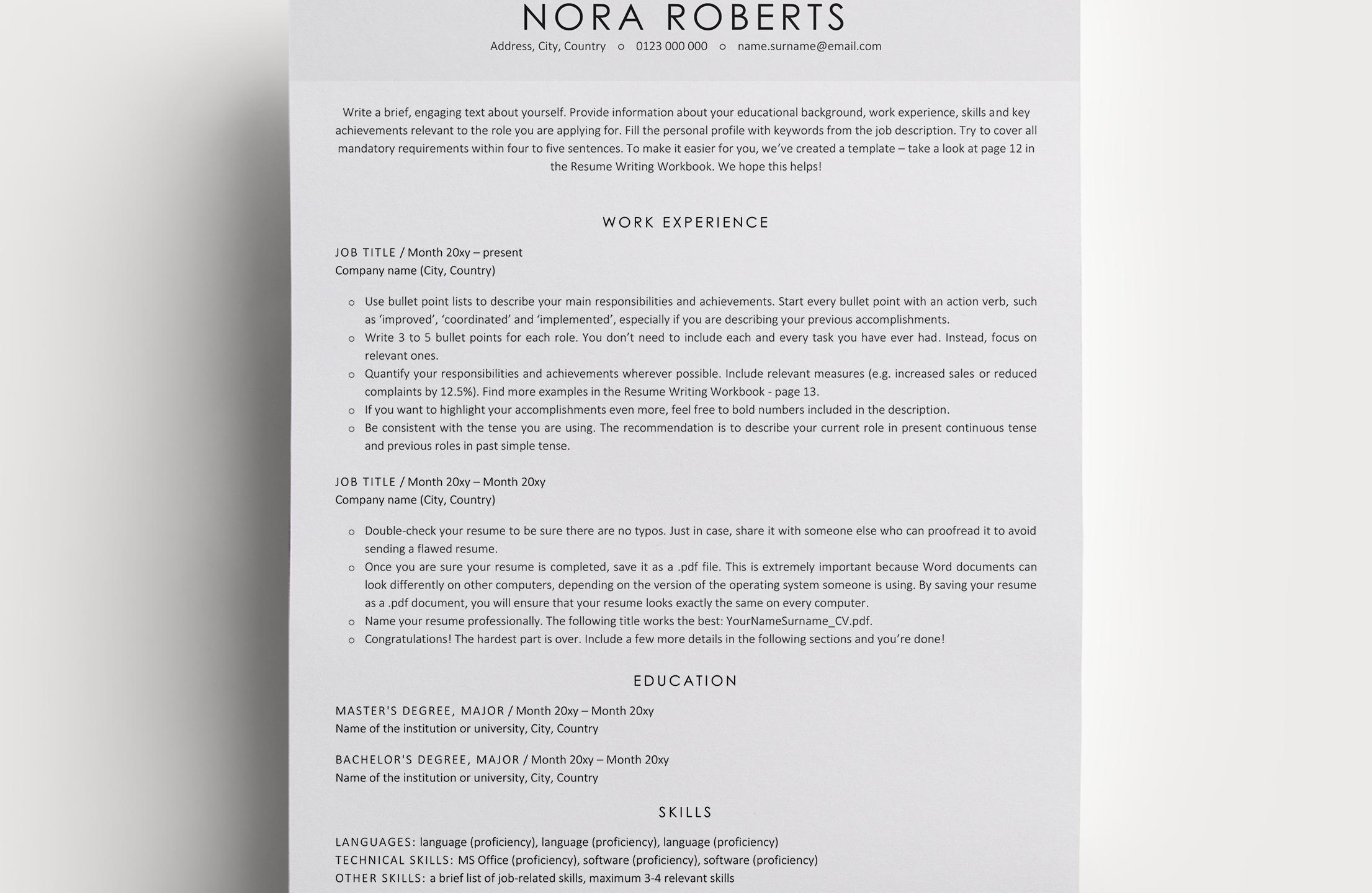 Resume Template Nora
