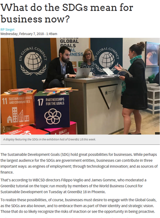 The latest from GreenBiz - What do the SDGs mean for business now?